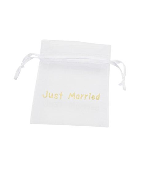 "Organza-Beutel ""Just Married"" - weiß/gold - 8 x 10 cm - 6 Stück"