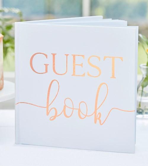 Hochzeits-Gästebuch mit rosegoldenem Schriftzug - 21 x 21 cm