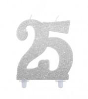 """Kuchenkerze mit Glitter """"25"""" - silber - 10 cm"""