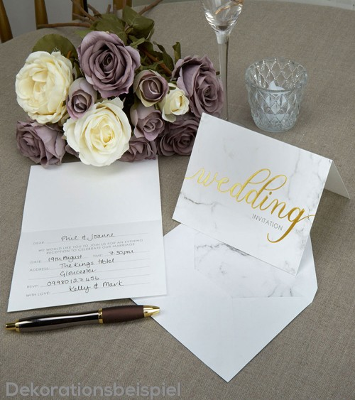 """Hochzeitseinladungen """"Marmor"""" - 10 Stück"""