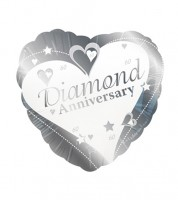 "Herz-Folienballon ""Diamond Anniversary"""