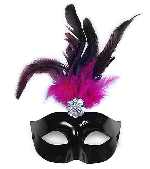 Venezianische Augenmaske mit schwarz-pinken Federn - schwarz