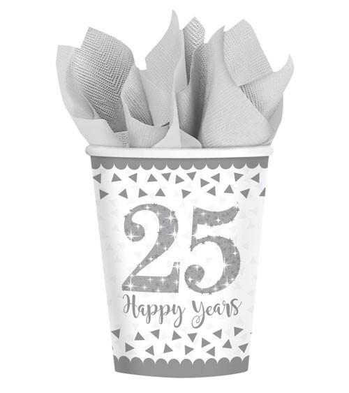 """Pappbecher """"25 Happy Years"""" - 8 Stück"""