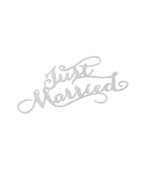 """Papier-Deko """"Just Married"""" - silber - 14,5 x 9 cm - 3 Stück"""