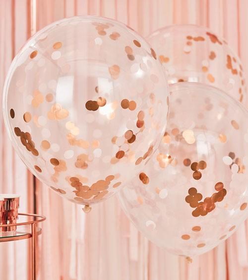 Riesenballons mit Konfetti - blush, rosegold - 3 Stück