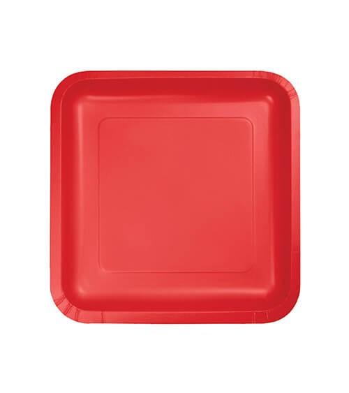 Kleine eckige Pappteller - rot - 18 Stück