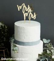 "Cake Topper aus Acryl ""Mrs & Mrs"" (Frau & Frau) - metallic gold"