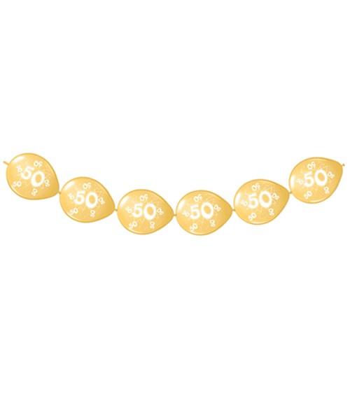 """Kettenballons """"50"""" - gold - 8 Stück"""