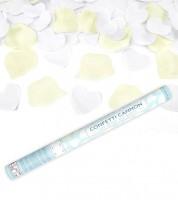 Konfetti-Kanone mit Rosenblättern und Herzen - creme - 60 cm