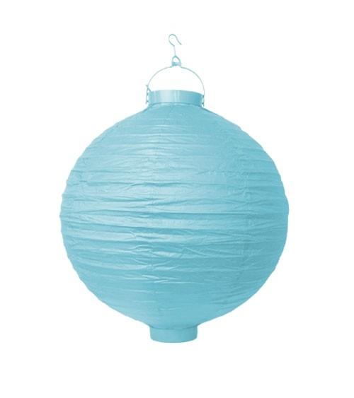 Papierlampion mit Beleuchtung - pastellblau - 20 cm