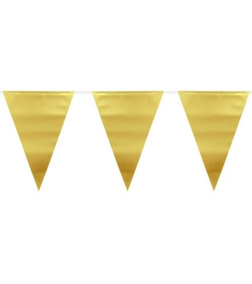 Wimpelgirlande aus Kunststoff - metallic gold - 6 m