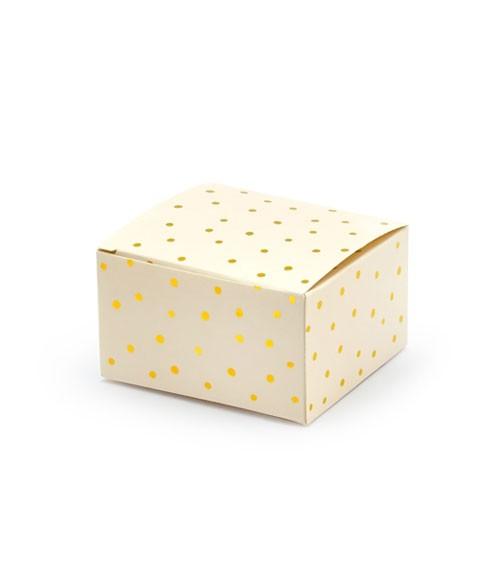 Gastgeschenkboxen mit goldenen Punkten - creme - 10 Stück