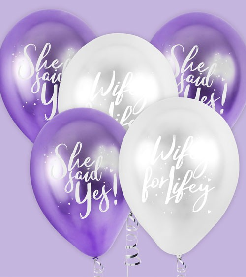 """Luftballon-Set """"Wifey for Lifey & She said Yes"""" - 5-teilig"""