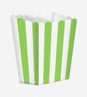 Popcornboxen mit Streifen - hellgrün - 5 Stück