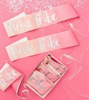 Bride Tribe Schärpen - pink/irisierend - 6 Stück