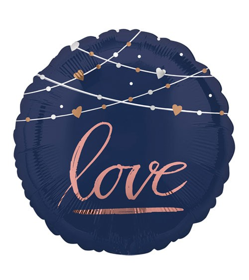 "Runder Folienballon ""love"" - navy & rosegold - 43 cm"