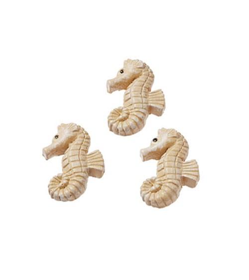 Seepferdchen mit Klebepunkt - natur - 2,5 cm - 3 Stück