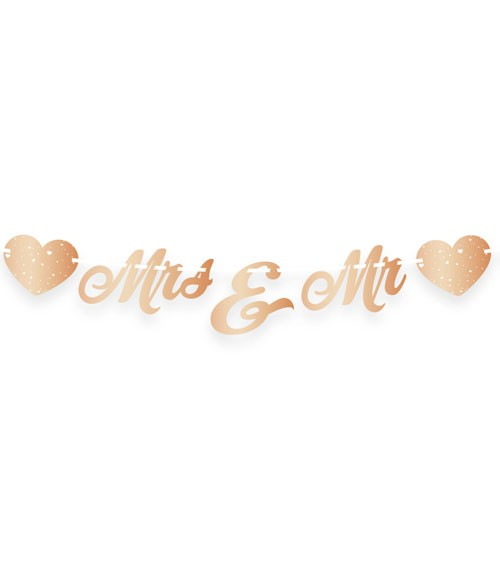 Mr & Mrs-Girlande mit Herzen - metallic rosegold - 1 m