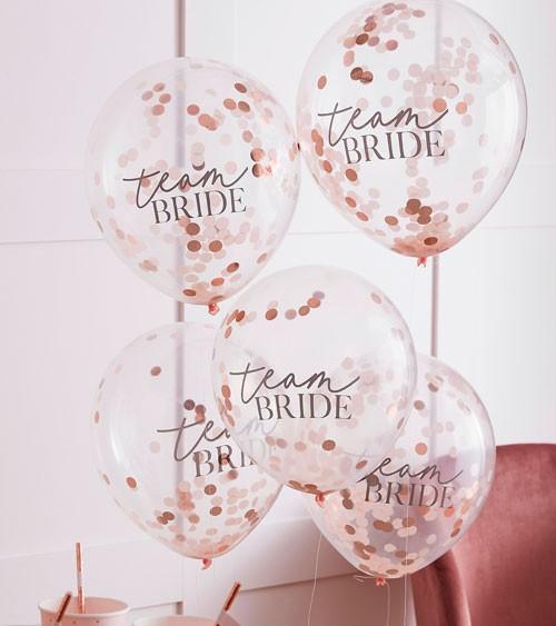 Team Bride Ballons mit Konfetti - 5 Stück