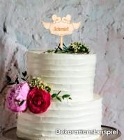 "Dein Cake-Topper ""Mr & Mrs - Tauben"" aus Holz - Wunschtext"