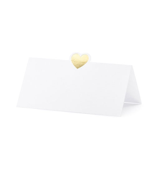 Platzkarten mit goldenem Herz - 10 Stück