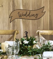 "Große Kraftpapier-Schilder ""Happy Couple/Wedding"" - 2-teilig"