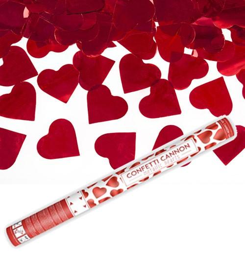 Konfetti-Kanone mit Herzen - rot - 60 cm