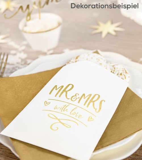 "Papiertüten ""Mr & Mrs"" - weiß/gold - 6 Stück"