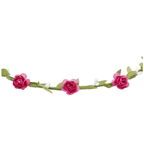 Blütenkranz mit Satinband - fuchsia - verstellbar