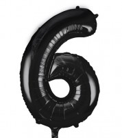 "Supershape-Folienballon ""6"" - schwarz - 86 cm"