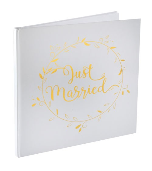 """Just Married-Gästebuch """"Gold & White"""" - 24 cm"""