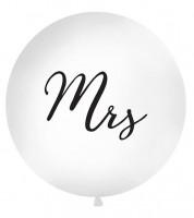 """Riesenballon """"Mrs"""" - weiß/schwarz - 1 m"""