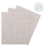 Buchstaben-Sticker - glitter silber - 62-teilig