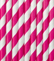 Papierstrohhalme gestreift - pink - 10 Stück
