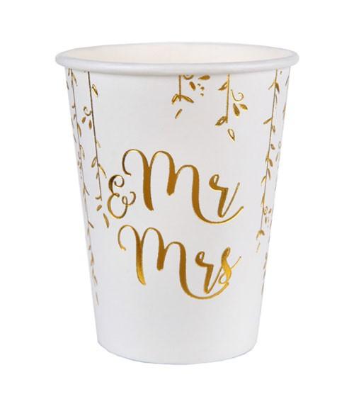"""Mr & Mrs-Pappbecher """"Gold & White"""" - 10 Stück"""