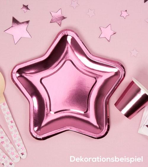 Kleine Stern-Pappteller - pink - 8 Stück