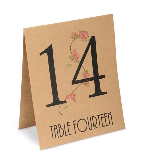 """Tischnummern """"Country Garden"""" 1 bis 15 - Kraftpapier"""