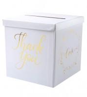 "Thank You-Kartenbox ""Gold & White"" - 20 cm"