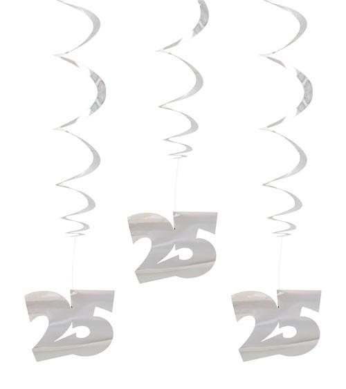 "Metallic-Spiralgirlanden ""25"" - silber - 3 Stück"