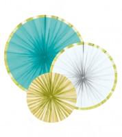 Papierfächer-Set mit Goldrand - türkis/weiß/gold - 3-teilig