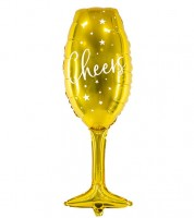 "Supershape-Folienballon Sektglas ""Cheers"" - 28 x 80 cm"