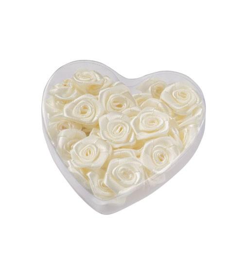 Satin-Rosen zum Streuen in Herzbox - creme - 2 cm - 30 Stück