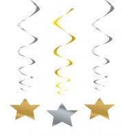 Spiralgirlanden mit Stern - gold/silber - 3 Stück