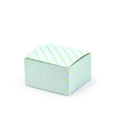 Gastgeschenkboxen mit goldenen Streifen - hellblau - 10 Stück