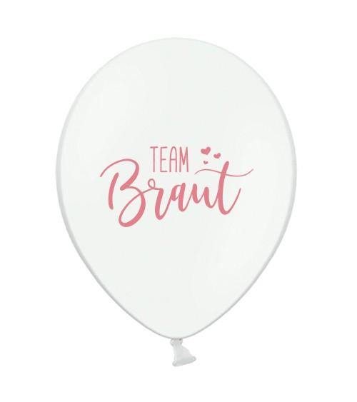 """Luftballons """"Team Braut"""" - weiß/rosa - 10 Stück"""