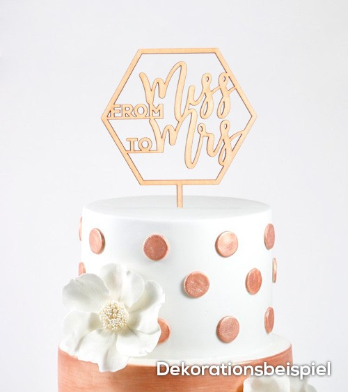 """Cake-Topper """"From Miss to Mrs"""" aus Holz"""