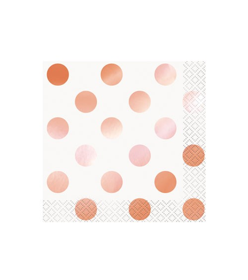 "Cocktail-Servietten ""Dots"" - rosa/rosegold - 16 Stück"