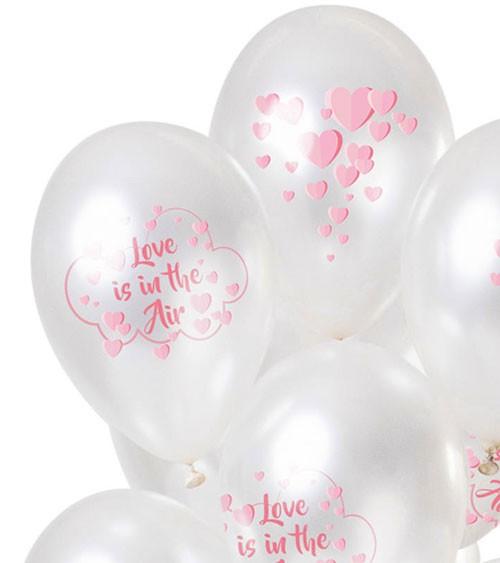 "Metallic-Luftballons ""Love is in the Air"" - Weiß & Rosa - 12-teilig"