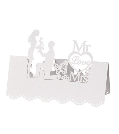 """Tischkarten """"Mr Love Mrs"""" - weiß - 12,5 x 11 cm - 5 Stück"""