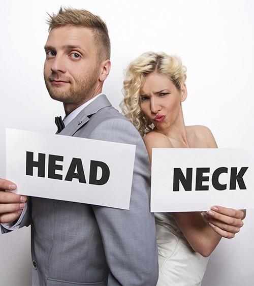 """Photobooth-Schilder """"Head and Neck"""" - 2-teilig"""